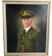 Portrait Self Oil On Canvas Ww1 Chief Of Chaplains Col. Julian Yates 1920and039s
