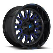 22x10 D645 Fuel Stroke Gloss Black And Blue Wheels 8x180 10mm Set Of 4