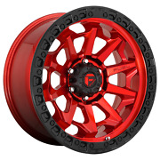 20x10 Fuel D695 Covert Candy Red Black Bead Ring Wheels 8x180 -18mm Set Of 4