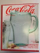 Vintage Classic Coca Cola Green Glass Pitcher With 4 Matching Glasses- 5pc Bever
