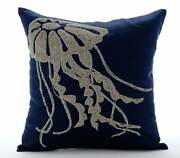 20x20 Sofa Pillow Cover Luxury Navy Bluelinen Jelly - Jelly Fish At The Shore
