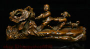 Collect Rare Old China Boxwood Wood Hand-carving Fengshui Tongzi Boy Dog Statue
