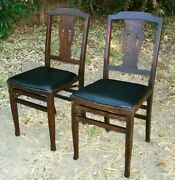 2 Antique Wooden Folding Solid Kumfort Chairs By Louis Rastetter And Sons Usa
