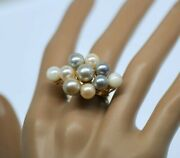 Natural Pearls Victoria Vintage Cocktail Ring Solid 18k Gold Antique Jewelry