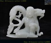 Chinese Hetian Jade Carved Feng Shui Lucky Dragon Loong Buddhist Monk Statue