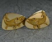 Impressive Heavy And Co 14ct Gold And Ruby Fish Cufflinks D2065