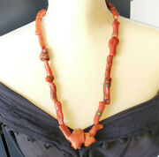 Antique Berber Natural Branch Red Coral Beads Morocco 135 Grold Coral