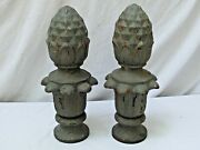 Antique Pair Cast Iron Pineapple Finials From Detroit Street Lamps Or Lights