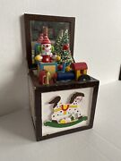 Vintage Wood Musical Toy Chest Andldquojack In The Boxandrdquo Works A Bit Rusty/slow