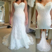 Vintage Lace Wedding Dresses Sweetheart Beaded Mermaid Bridal Gowns Plus Size
