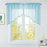 Ryb Home Semi Sheer Valances For Windows, Privacy Light Filter Swag Valance Curt