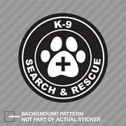 K-9 Search And Rescue With Paw Cross Sticker Decal Vinyl K9 Dog Canine
