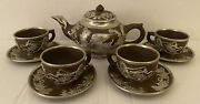 Vintage Chinese Brown And Silver Ceramic Dragon Tea Set