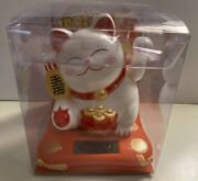 """Solar Powered Welcoming Lucky Beckoning Hands Waving Fortune White Cat ,4.5""""h"""