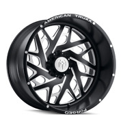 22x12 American Truxx Atf1909 Aries Forged Blk Milled Wheels 8x6.5 -44mm Set Of 4
