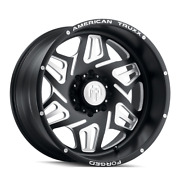 22x12 American Truxx Atf1908 Orion Forged Blk Milled Wheels 8x180 -44mm Set Of 4