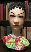 Circa 1900 Antique Asian Chinese Hand-carved Wood Puppet Head With Real Hair