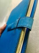 Hermes Vintage Iconic Blue Leather Day Planner, Organizer, Journal Notebook 7x9