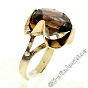 Vintage 14k Gold Large 14mm Round Smoky Quartz Solitaire Scalloped Cocktail Ring
