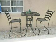 Russell Woodard Style Vintage Bistro Patio Table And Two Chair No Cushions