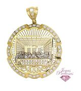10k Yellow And White Gold Cubic Zirconia Last Supper Round Pendant 3.75