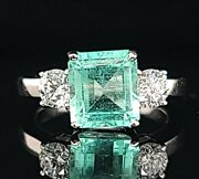 Vintage 14k White Gold Engagement Ring 2.49ct.natural Mint Green Emerald