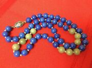 Antique Chinese Lapis Jade Cloisonné Clasp Hand Knotted Necklace 26 70 Gr