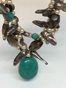 Hsn Deb Guyot Sterling Smokey Quartz And Turquoise And Abalone Necklace 399
