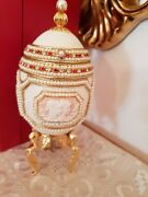 Only One Faberge Antique Music Jewlry Box Natural Egg Handcraft 24k Gold Fabergandeacute