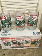 Budweiser Frogs Bud-weis-er Frog 16 Oz Glasses Set Of 81995 Nos Indiana Glass