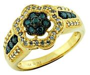 Estate .50ct White And Blue Diamond 14kt Yellow Gold 3d Double Flower Fun Ring