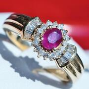 14k Yellow Gold Ring 1.15ct Natural Ruby Diamond Size 6.5 Vintage Handmade 4.1gr