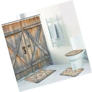 4 Pcs Rustic Barn Door Shower Curtain Set With Non-slip Rug Toilet Lid Cover...