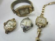 4 Vintage Ladies Gold Filled And Plated Wrist Watches-sanford,bulova,macon