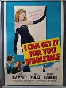 Cinema Poster I Can Get It For You Wholesale 1951 One Sheet Susan Hayward