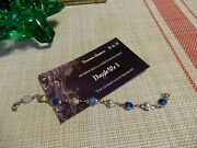 Infant Of Prague Antique Blue Guilloche And Silver Rose Link Rosary Braceletrare