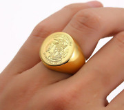 Saint Michael Rings For Man Stainless Steel Archangel Medal Round Signet Ring