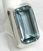 Fabulous 26ct Aquamarine In Sterling Silver Ring Size 9 3/4