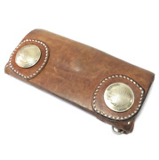 Red Moon Rare Obsolete Nnv-02 Nevada Long Wallet Saddle Leather Original Concho