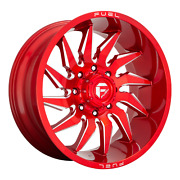 20x10 Fuel D745 Saber Candy Red Milled Wheels 8x6.5 -18mm Set Of 4
