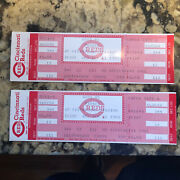 Pete Rose 4192 Career Hit Record - Two Full Tickets 9/11/1985 Reds