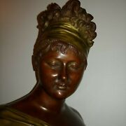 Stunning Antique French Bronze Bust Of Madam Randeacutecamier Signed 1890s