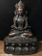 Chinese Tibetan Religion Fine Carving Red Copper Guanyin Buddha Statue
