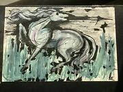 Out Of Darkness Impressionist Horse Original Watercolor J.r.