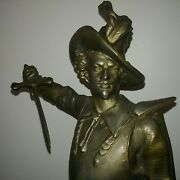 Militaria Large Antique 17th Cent Musketeer Sword Man Armor Sculpture Don Ceasar