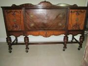 Vintage Antique Carved Solid Wood Jacobean Sideboard Buffet Credenza 2 Drawers