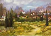 Zina Roitman- Original Oil On Canvas Village In The Country