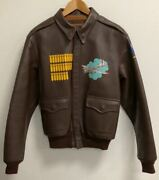 Used the Real Mccoyand039s A-2 Premium Leather A2 A-2 Custom Print Flight Jacket