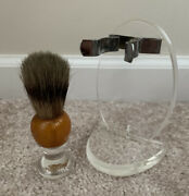 Vintage Plymouth Pure Badger Shaving Brush With Lucite Stand Holder