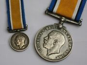 Wwi Sterling Silver Set Of British War Medals Full Size And Miniature 1914-1918.